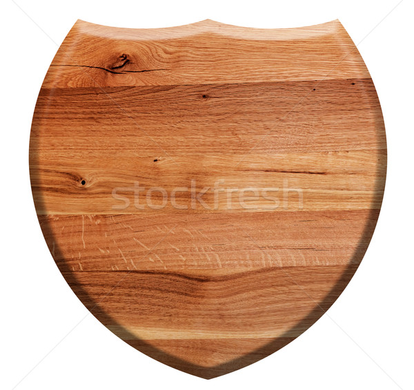 Wooden shield isolated on white. Natural oak wood Stock photo © photocreo