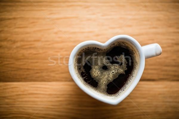 Zwarte koffie espresso hart beker liefde Stockfoto © photocreo