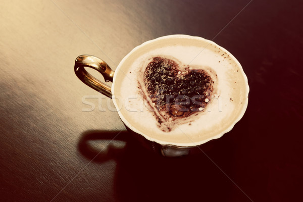 Beker koffie chocolade hartvorm melk schuim Stockfoto © photocreo