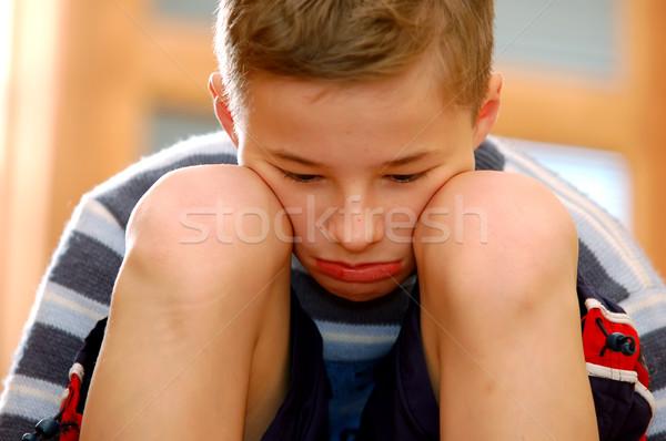 Tristesse portrait séance visage Kid Photo stock © photocreo