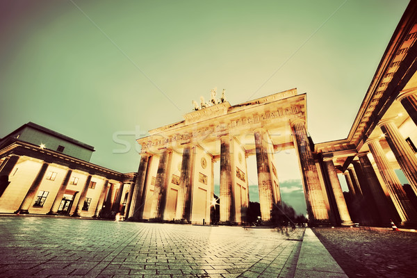 Foto stock: Puerta · de · Brandenburgo · Berlín · Alemania · noche · vintage · retro