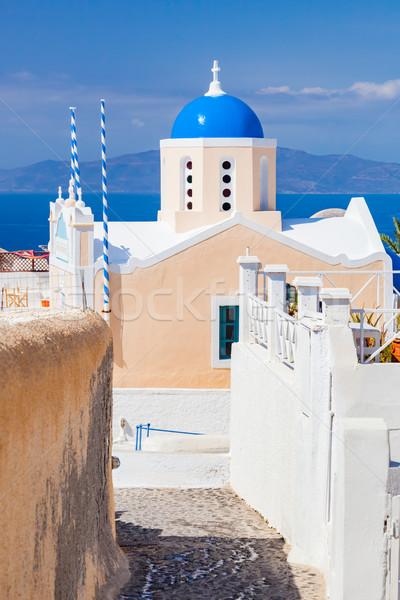 Церкви известный синий купол Санторини острове Сток-фото © photocreo