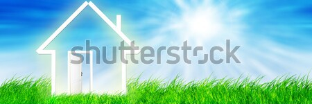 Foto stock: Visión · campo · verde · verano · cielo · azul