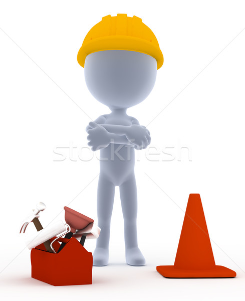 Builder, toon worker with tools Stock photo © photocreo