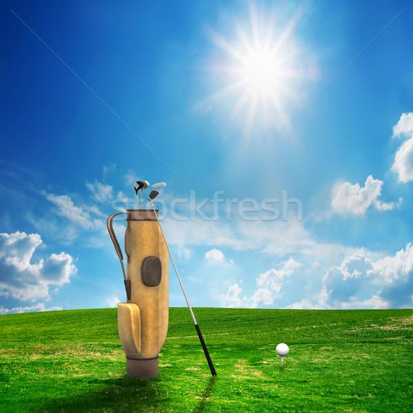 Golf uitrusting bal golfbaan zonnige landschap Stockfoto © photocreo