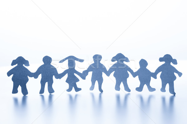 Papieru dzieci stałego wraz strony szczęśliwy Zdjęcia stock © photocreo