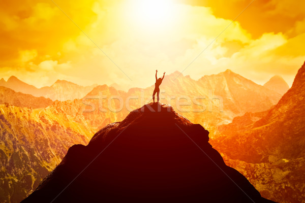 Happy woman on peak of the mountain enjoying the success, freedom and bright future. Stock photo © photocreo