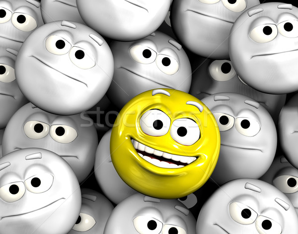 Happy laughing emoticon face among others Stock photo © photocreo