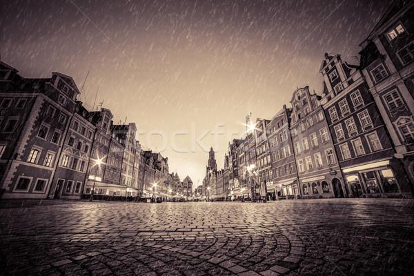 Kopfsteinpflaster Altstadt Regen Nacht Polen Stock foto © photocreo