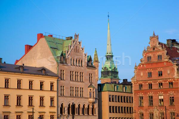 Binalar Stockholm İsveç gökyüzü su Stok fotoğraf © photocreo