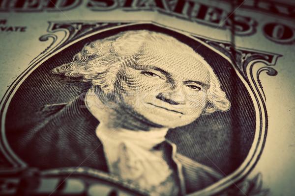 One dollar bill close up. Focus on George Washington eyes Stock photo © photocreo