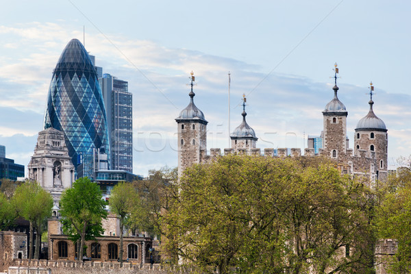 The Tower of London and the 30 St Mary Axe skyscraper. England, UK. Stock photo © photocreo