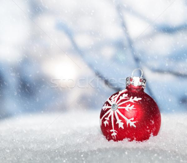 Kırmızı Noel top kar kış Stok fotoğraf © photocreo