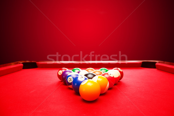Billards pool game. Color balls in triangle Stock photo © photocreo