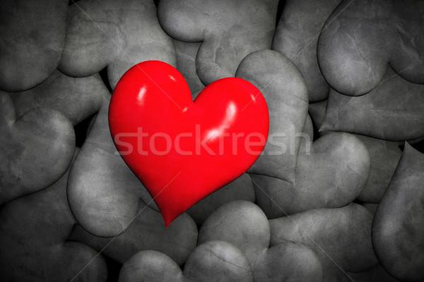 Vinden liefde eenzaam Rood harten veel Stockfoto © photocreo