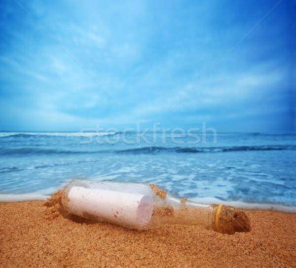 Mensagem garrafa oceano viajar turismo conceitos Foto stock © photocreo