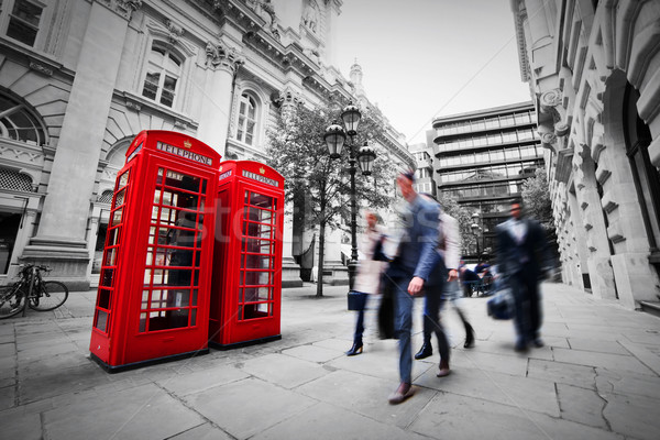 Business leven Londen Rood telefoon kraam Stockfoto © photocreo