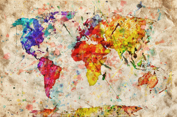 Vintage mapa do mundo colorido pintar aquarela grunge Foto stock © photocreo