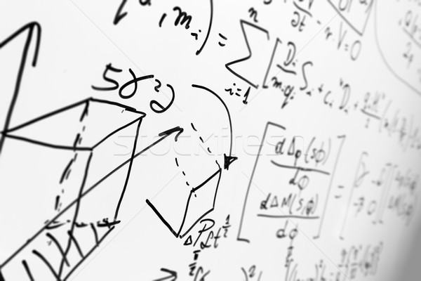 Complex math formulas on whiteboard. Mathematics and science with economics Stock photo © photocreo