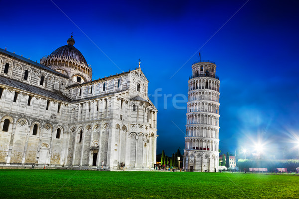 Pisa Cathedral with the Leaning Tower of Pisa, Tuscany, Italy at night Stock photo © photocreo