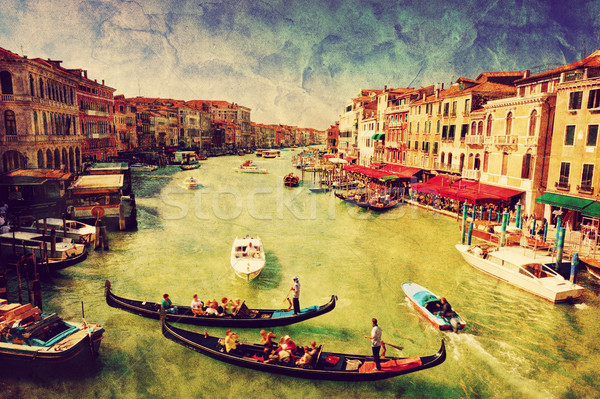 Venice, Italy. Gondola on Grand Canal. Vintage art Stock photo © photocreo