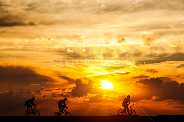 Friends on a bike trip at sunset. Active lifestyle, cycling hobby. Stock photo © photocreo