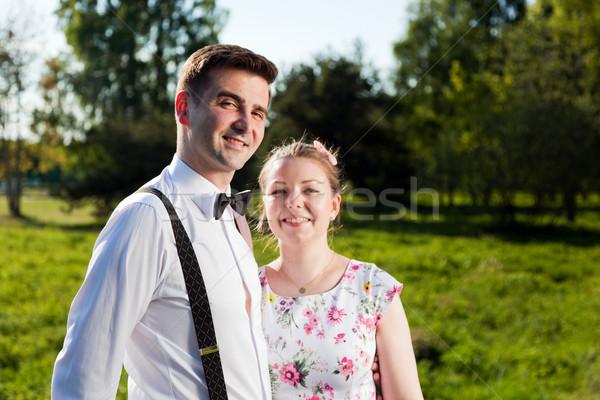 Fiatal boldog pár szeretet portré nyár Stock fotó © photocreo