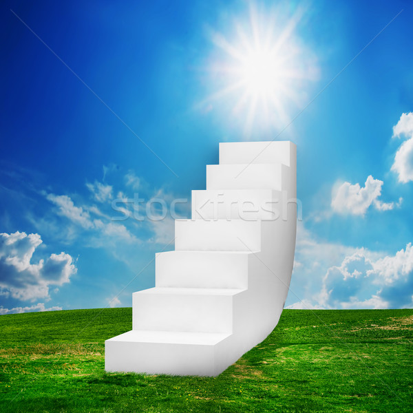 White stairs on the field. Way to success Stock photo © photocreo