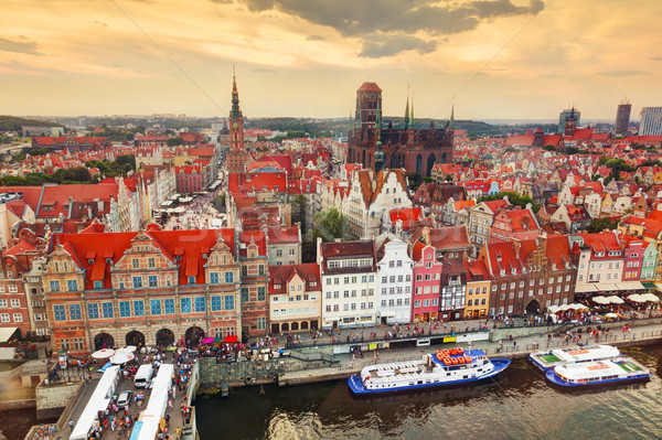 Top view on Gdansk old town and Motlawa river, Poland at sunset. Stock photo © photocreo