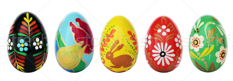 Hand painted Easter eggs isolated on white. Spring patterns art. Stock photo © photocreo