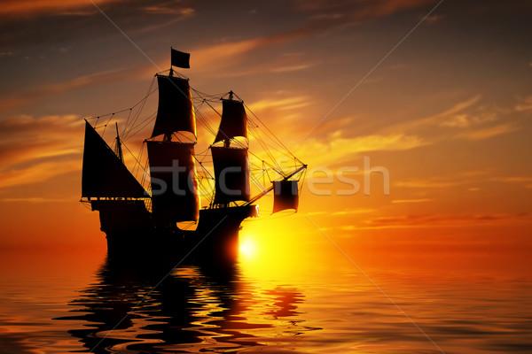 Eski eski korsan gemi huzurlu okyanus Stok fotoğraf © photocreo