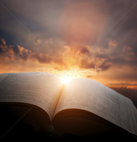 Open old book, light from sunset sky, heaven. Education, religion concept Stock photo © photocreo