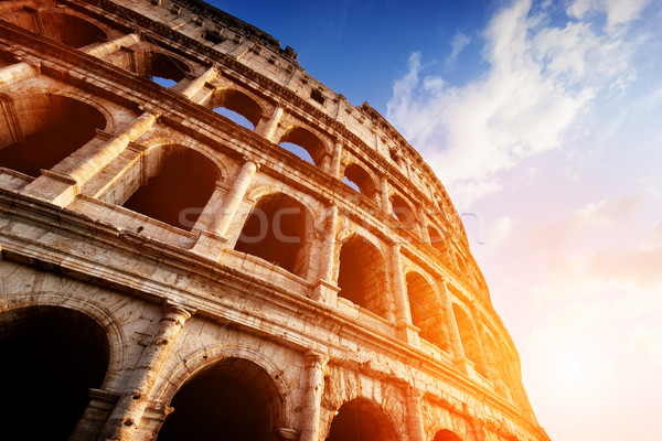 Colosseum Roma İtalya gün batımı ışık simge Stok fotoğraf © photocreo
