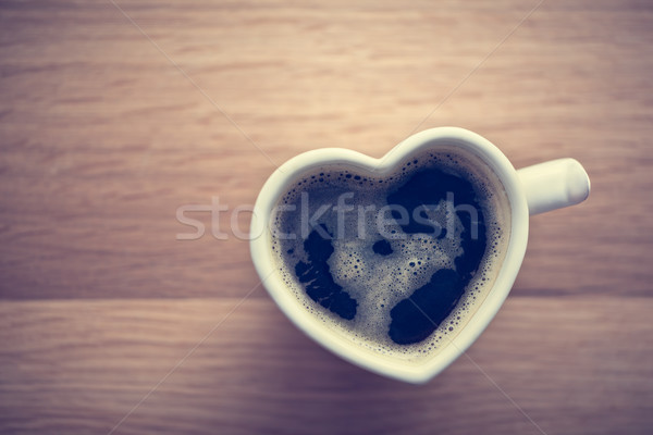 Black coffee, espresso in heart shaped cup. Love, Valentine's Day, vintage Stock photo © photocreo