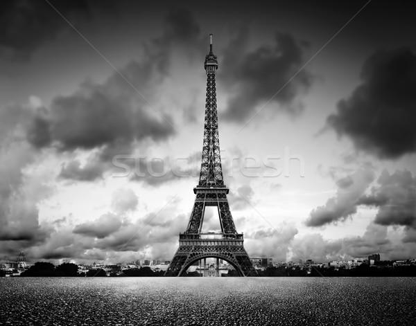 Stock fotó: Torony · Párizs · Franciaország · feketefehér · klasszikus · művészi