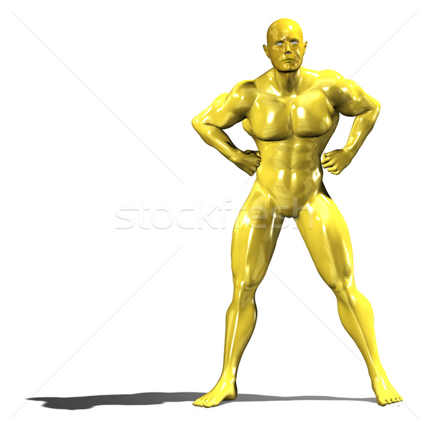 Stock photo: Gold hero man statue in confident pose
