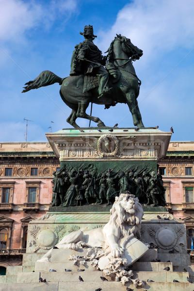 Vittorio Emanuele II statue. Milan, Italy Stock photo © photocreo