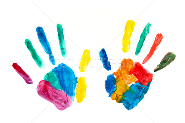 Hands painted, stamped on paper, colorful fun Stock photo © photocreo