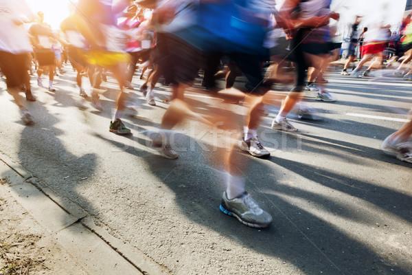 マラソン ランナー 運動 を実行して 市 太陽 ストックフォト © photocreo