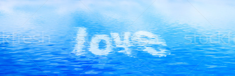 Szeretet szöveg tiszta víz hullámok szalag panoráma Stock fotó © photocreo