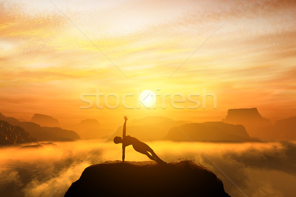 Woman meditating in side balance yoga position on the top of a mountains Stock photo © photocreo