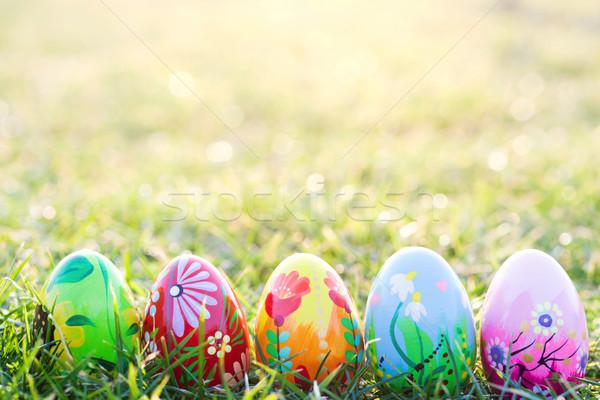 Feito à mão ovos de páscoa grama primavera padrões arte Foto stock © photocreo