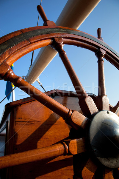 Old helm, wooden wheel for navigation Stock photo © photocreo