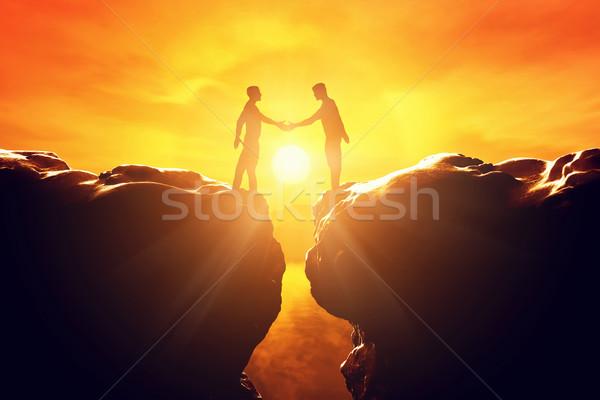 двое мужчин руками бизнеса рукопожатие дело два Сток-фото © photocreo