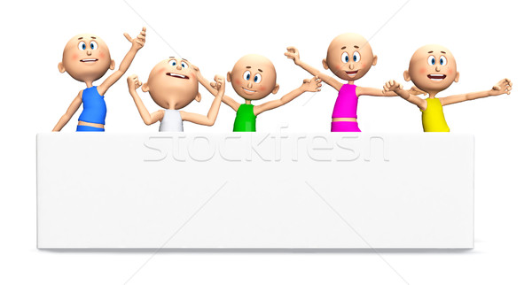 Happy toon guys and blank banner Stock photo © photocreo
