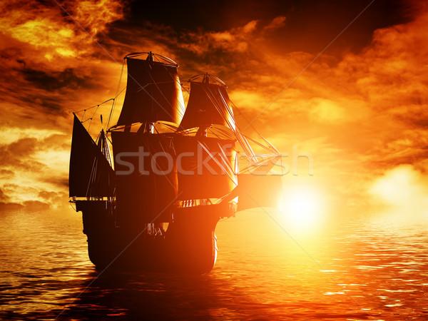 Stock fotó: ősi · kalóz · hajó · vitorlázik · óceán · naplemente