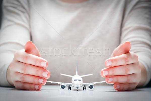 Aereo modello mani gesto protezione aeromobili Foto d'archivio © photocreo