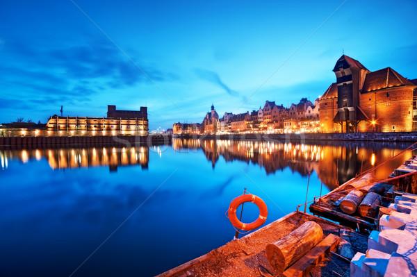 Gdansk Polen oude binnenstad rivier beroemd kraan Stockfoto © photocreo