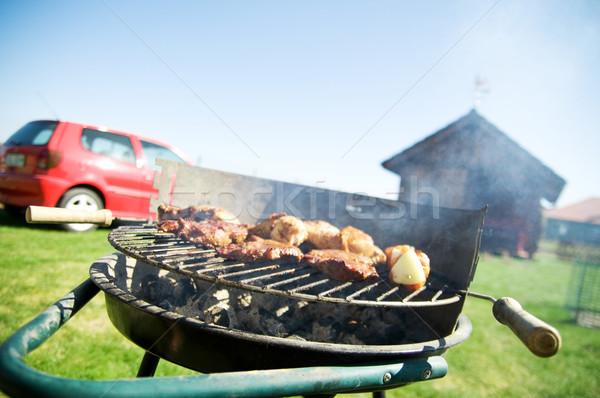 Barbecue főzés barbecue grill étel fű zöld Stock fotó © photocreo