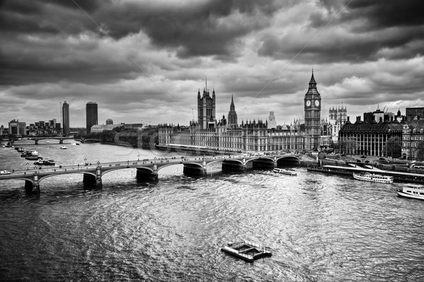 London, the UK. Big Ben, the Palace of Westminster in black and white Stock photo © photocreo